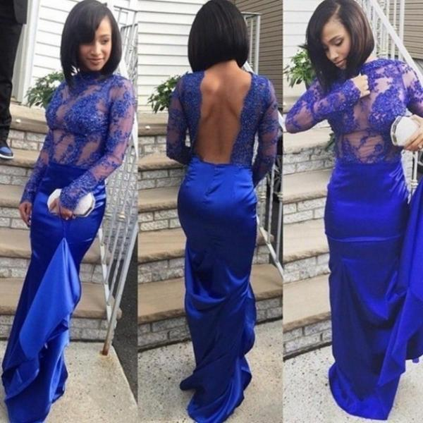 Blue High Neck Long Sleeves Backless Sheath Satin Prom Dresses 2017