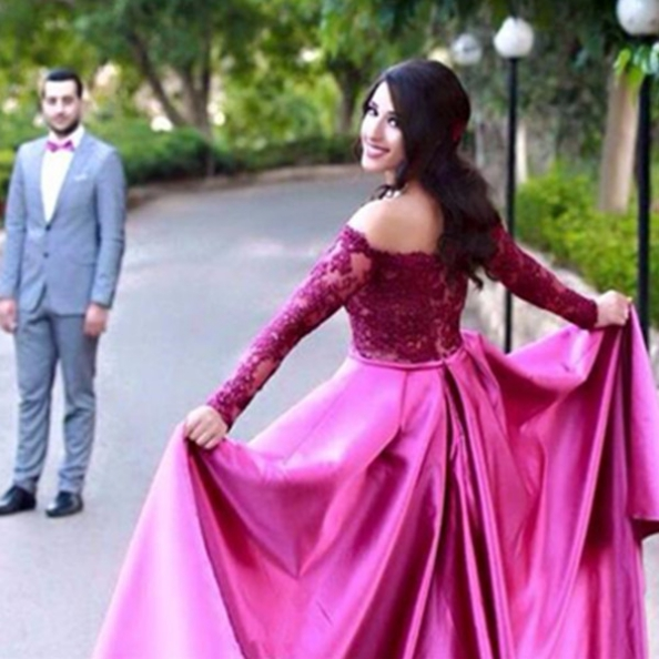A-Line Off-the-Shoulder Long Sleeves Natural Satin Prom Dresses 2017