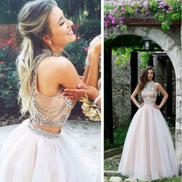 White High Neck Ball Gown Tulle Two Pieces Prom Dresses 2017