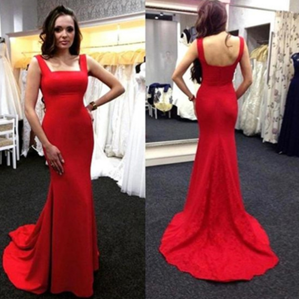 Red Long Trumpet/Mermaid Square Spandex Prom Dresses 2017