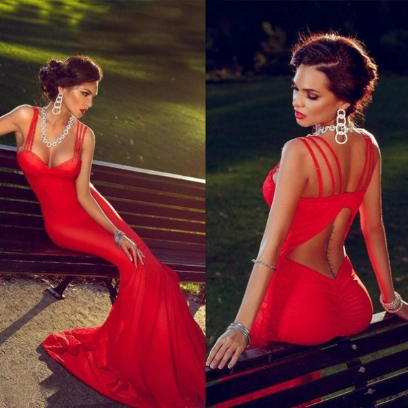 Red Prom Dresses 2017 Trumpet/Mermaid Spaghetti Straps Stretch Satin