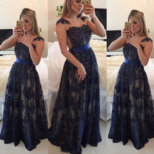 Blue Long A-Line Scoop Pearl Detailing Tulle Prom Dresses 2017