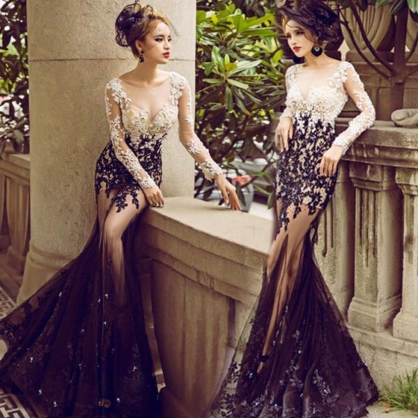 Blue Illusion Appliques Mermaid Tulle Champagne Prom Dresses 2017