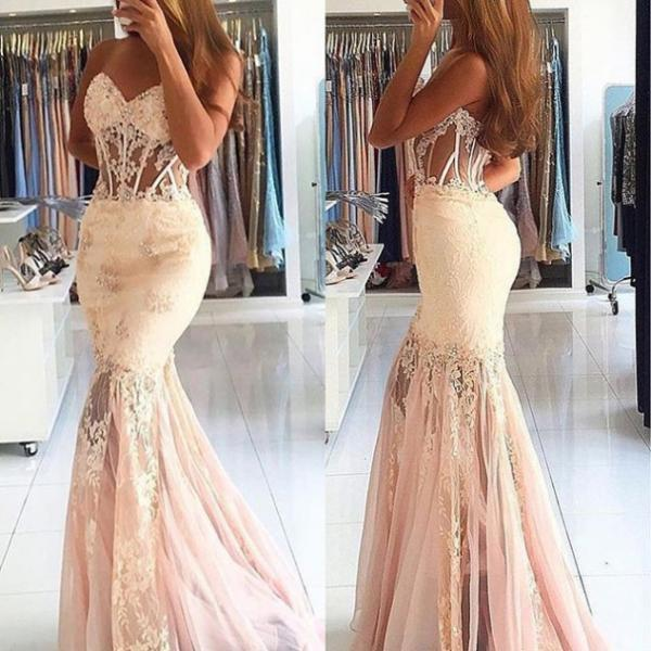 Charming Beading Mermaid Lace Prom Dresses 2017