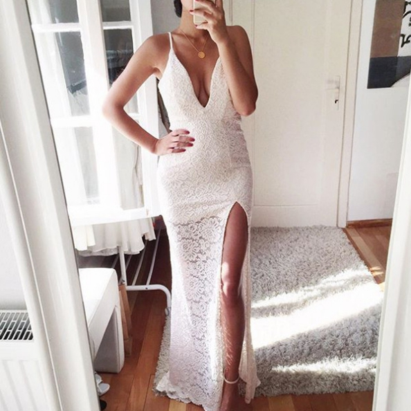 White Sexy Spaghetti Straps Front-Split Sheath Lace Prom Dresses 2017