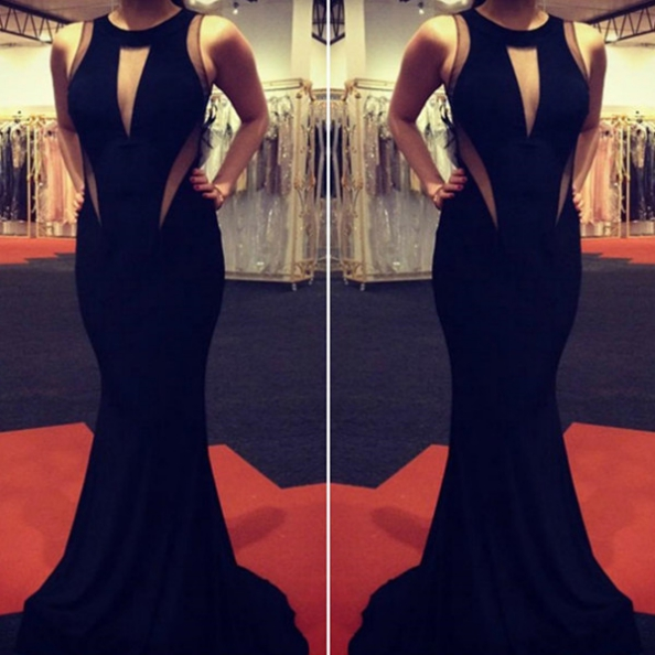 Black Sexy Round Neck Trumpet/Mermaid Chiffon Prom Dresses 2017