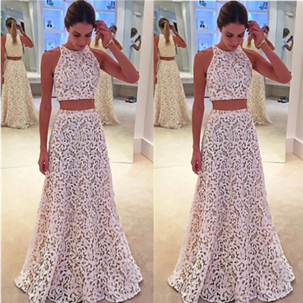 Prom Dresses 2017 Sleeveless A-line Lace Two Piece