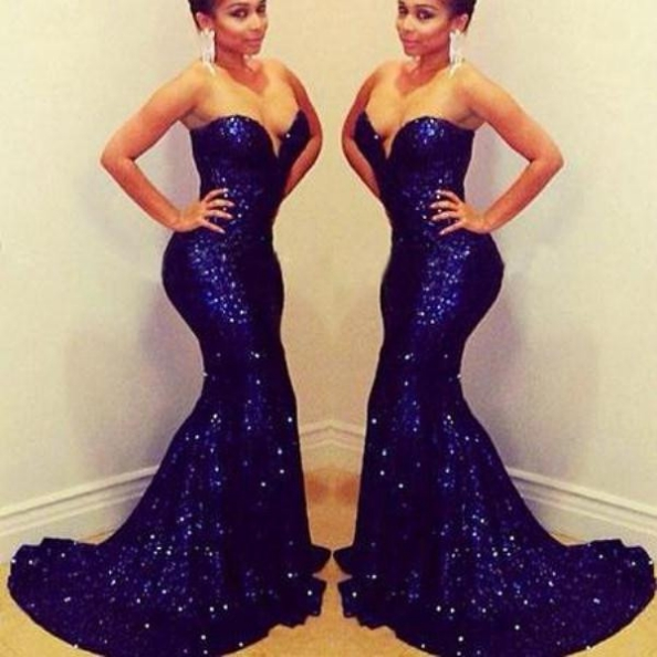 Blue Long Sweetheart Mermaid Sequined Prom Dresses 2017