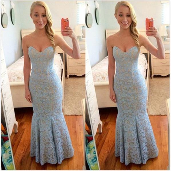 Blue Sweetheart Mermaid Lace Prom Dresses 2017