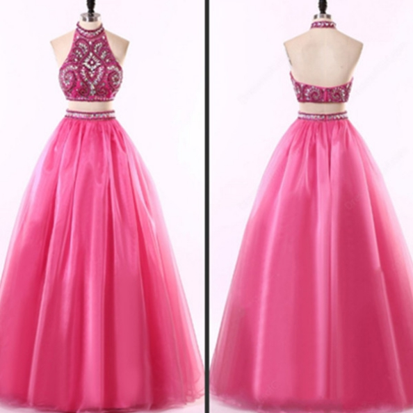 Beading Floor-length A-line Tulle Two Pieces Prom Dresses 2017