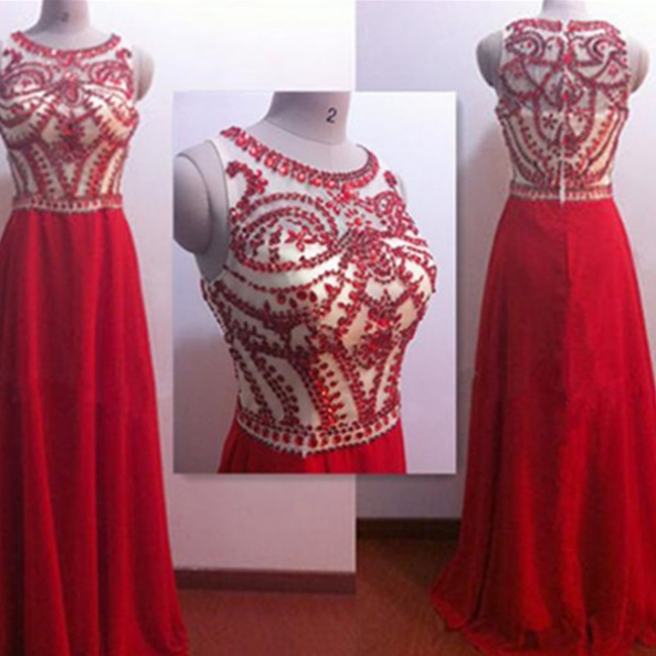 Red A-Line Sleeveless Zipper Floor-Length Crystal Detailing Chiffon Prom Dresses 2017