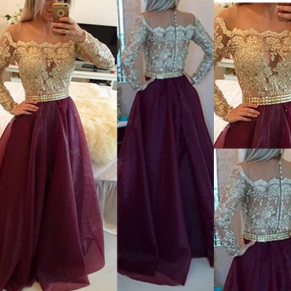 Long A-Line Off-the-Shoulder Long Sleeves Prom Dresses 2017