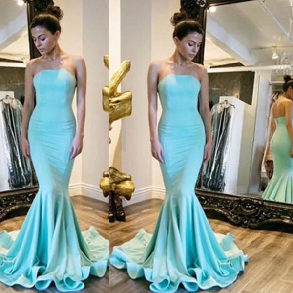 Strapless Natural Sweep Train Mermaid Prom Dresses 2017