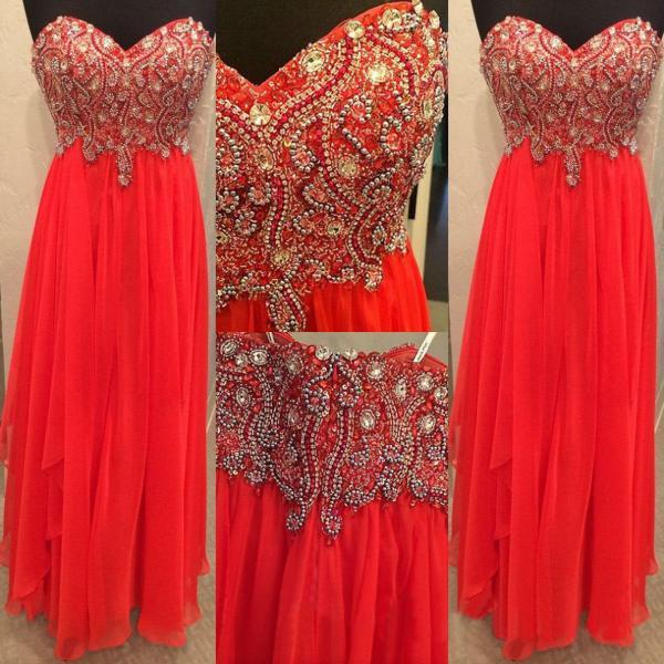 Red A-Line Sweetheart Sleeveless Natural Zipper Chiffon Prom Dresses 2017
