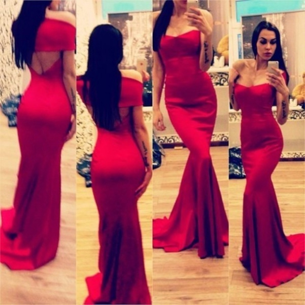 Red Prom Dresses 2017 Trumpet/Mermaid Sweetheart Satin
