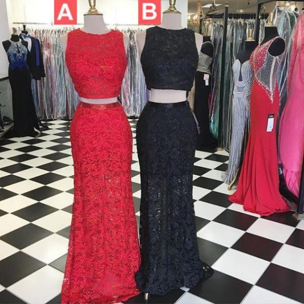 Black Floor-length Sheath/Column Lace Two Pieces Prom Dresses 2017