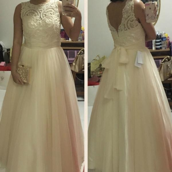 Lace Ball Gown Tulle Prom Dresses 2017