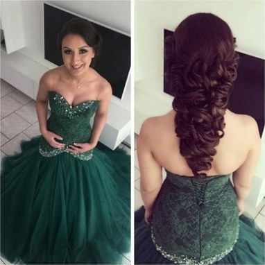 Beading Sweetheart Ball Gown Organza Prom Dresses 2017