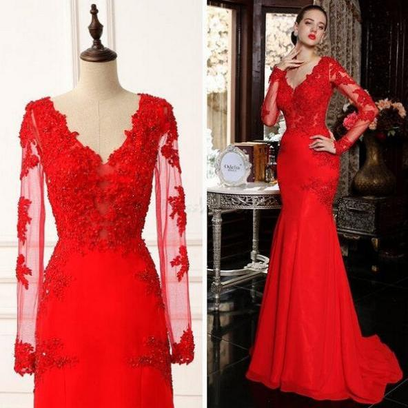 Red Appliques Long Sleeves Satin Chiffon Prom Dresses 2017