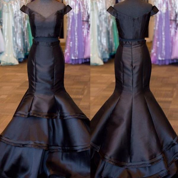 Black Tiers Off-the-Shoulder Satin Two Pieces Prom Dresses 2017