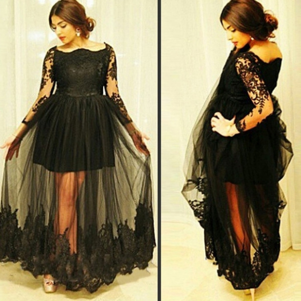 Black Gorgeous Lace Sheer Sleeves Floor-Length Tulle Prom Dresses 2017