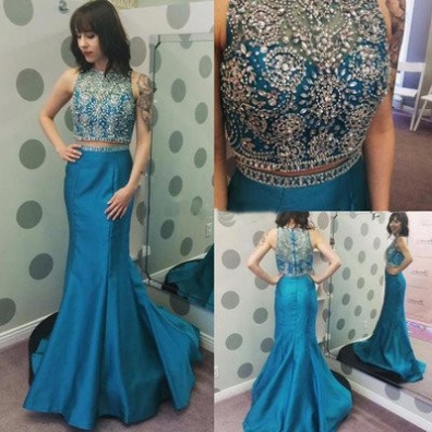 Blue Trumpet/Mermaid High Neck Sleeveless Natural Zipper Floor-Length Satin Prom Dresses 2017