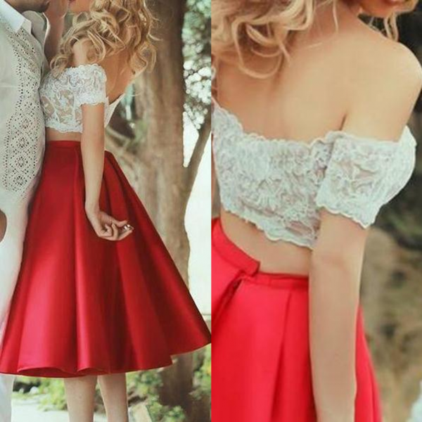 Red Off-the-Shoulder Lace Satin Two Pieces Prom Dresses 2017