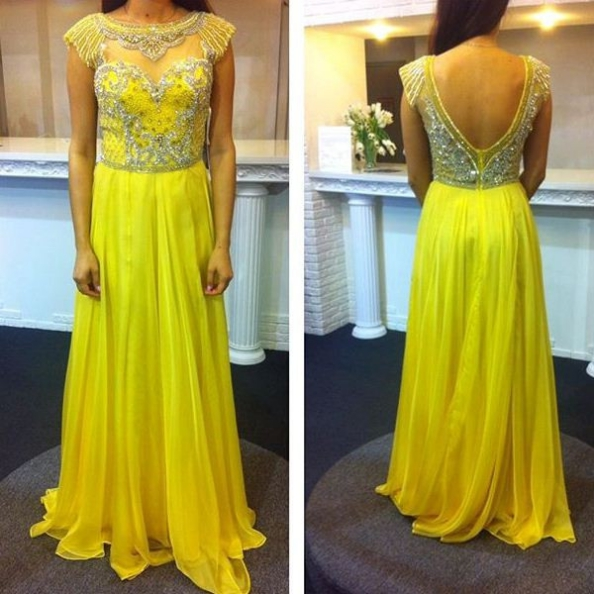 Prom Dresses 2017 Round Neck Crystal Backless A-line Chiffon