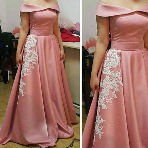 Off-the-Shoulder Appliques A-Line Prom Dresses 2017