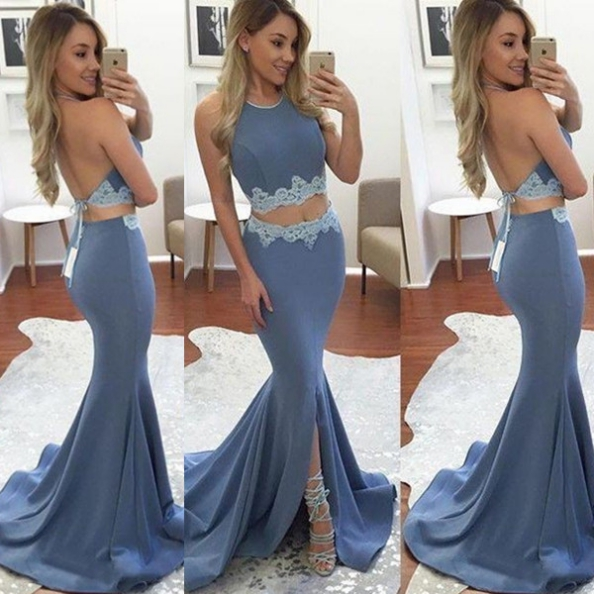 Blue Appliques Trumpet/Mermaid Stretch Satin Two Pieces Prom Dresses 2017