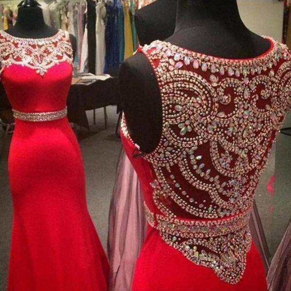Red Beading Jewel Neck Mermaid Satin Prom Dresses 2017