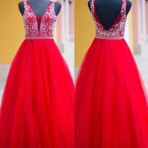 Red Delicate Beading Ball Gown Tulle Prom Dresses 2017
