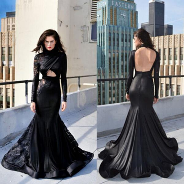 Sexy Black Long Sleeves Lace Backless Mermaid Prom Dresses 2017