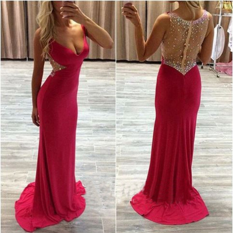 Red Beading Deep V-Neck Sweep Train Stretch Satin Prom Dresses 2017