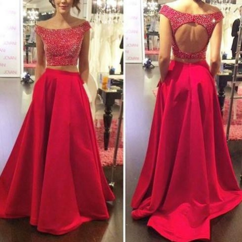 Red Beading A-line Satin Two Pieces Prom Dresses 2017