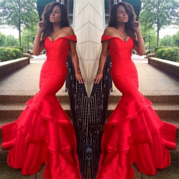 Red Tiers Off-the-Shoulder Mermaid Taffeta Prom Dresses 2017