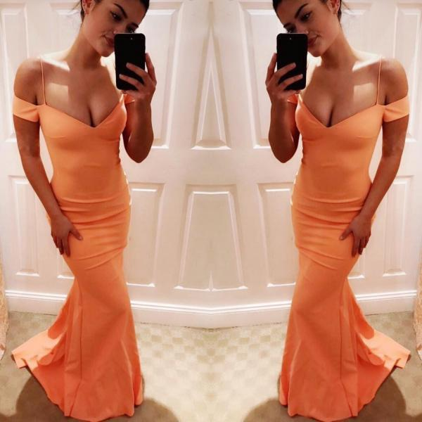 Orange Natural Floor-length Sheath Prom Dresses 2017