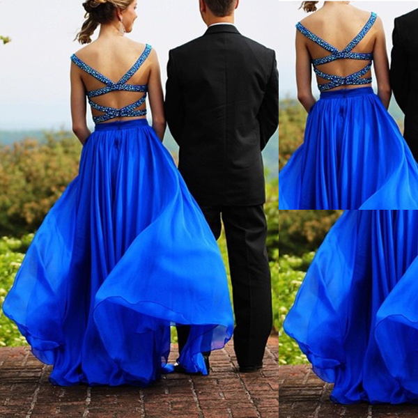 Blue Crystal Straps Backless A-line Two Pieces Prom Dresses 2017