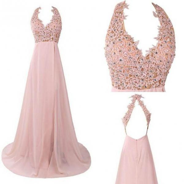 Crystal Appliques Halter Chiffon Prom Dresses 2017