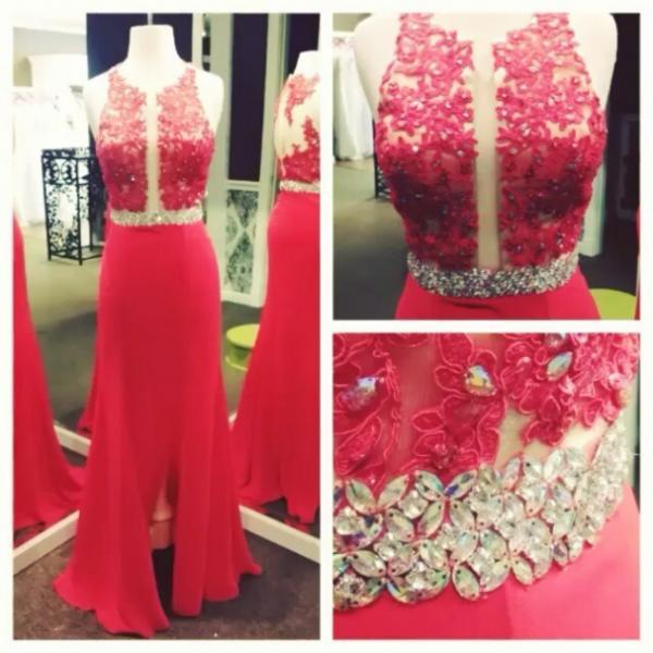 Red Beading Floor-length Sleeveless A-line Stretch Satin Prom Dresses 2017