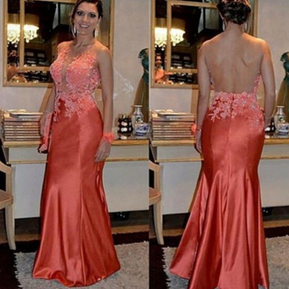 Trumpet/Mermaid Scoop Sleeveless Natural Zipper Floor-Length Stretch Satin Prom Dresses 2017