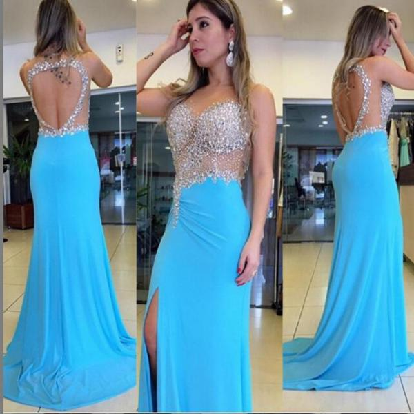 Blue Trumpet/Mermaid Sleeveless Natural Backless Chiffon Prom Dresses 2017