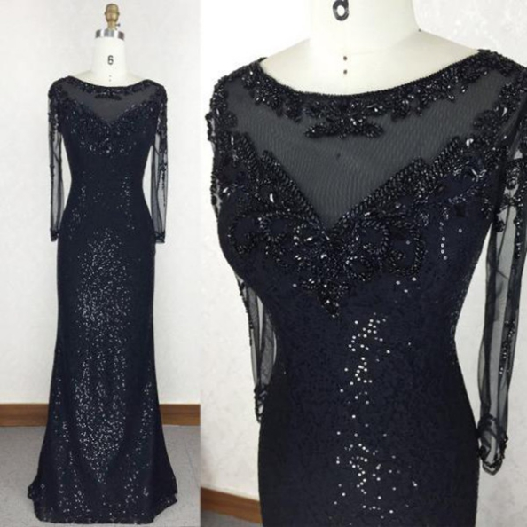 Black Sheath Long Sleeves Floor-Length Sequins Prom Dresses 2017