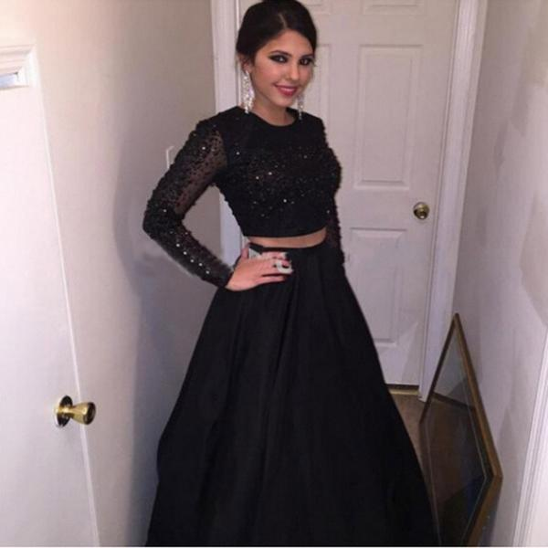 Black A-Line Long Sleeves Natural Zipper Floor-Length Taffeta Prom Dresses 2017