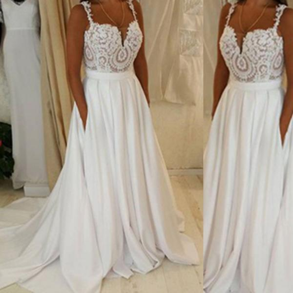 White Straps Lace Natural Sweep Train A-line Chiffon Prom Dresses 2017