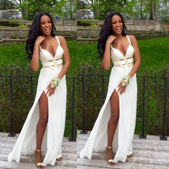 White V-Neck Sheath/Column Split Front Chiffon Prom Dresses 2017
