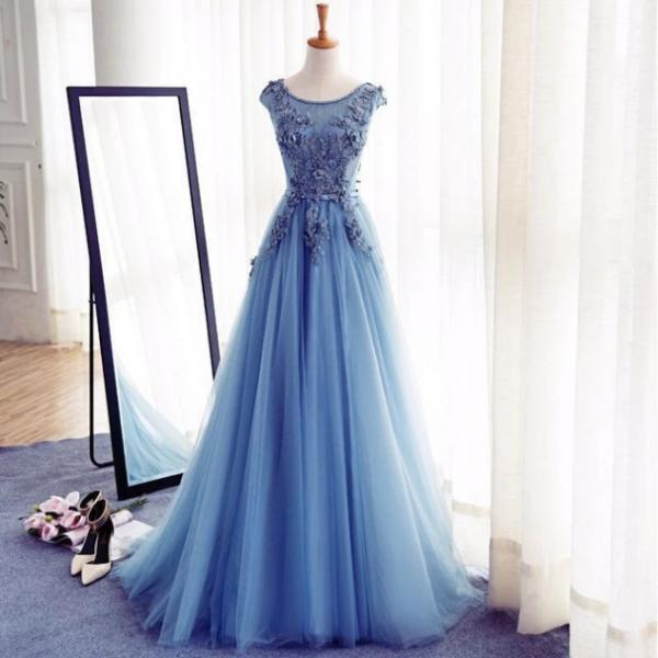 Blue Flowers Floor-length Lace Up A-line Tulle Prom Dresses 2017