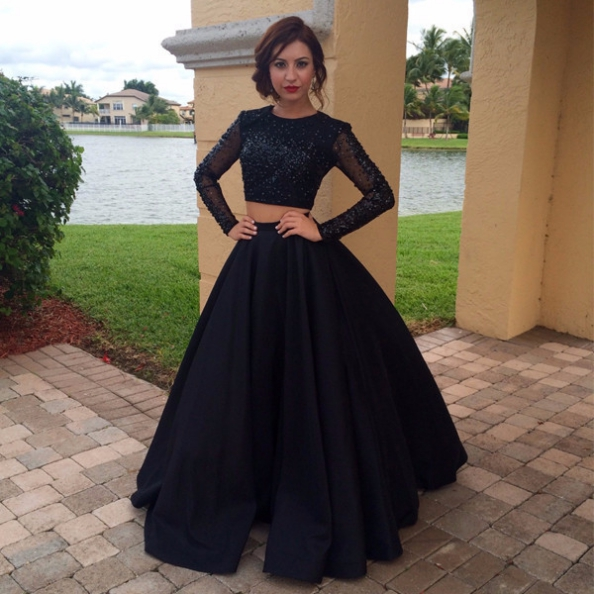 Black Beading Long Sleeves Satin Two Piece Prom Dresses 2017