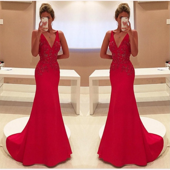 Red Appliques V-Neck Sweep Train Satin Prom Dresses 2017