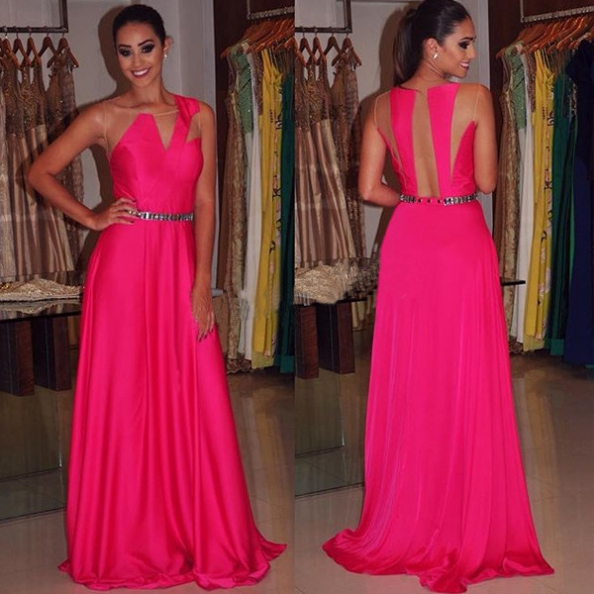 Beading Sleeveless Sheer Back Prom Dresses 2017